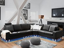 Corner Sofa Black Leather Upholstery Left Hand