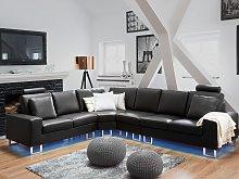 Corner Sofa Black Leather Upholstery Right Hand