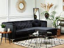 Corner Sofa Black Velvet Upholstered 3 Seater Left