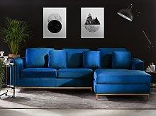 Corner Sofa Blue Velvet Upholstered L-shaped Left