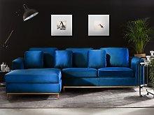 Corner Sofa Blue Velvet Upholstered L-shaped Right