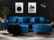 Corner Sofa Blue Velvet Upholstered with Ottoman