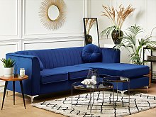 Corner Sofa Blue Velvet with Cushions 3 People