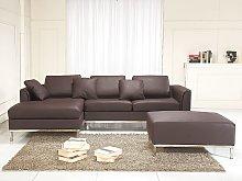 Corner Sofa Brown Leather Upholstered L-shaped