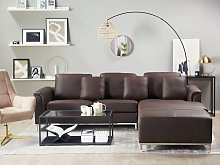 Corner Sofa Brown Leather Upholstered with Ottoman