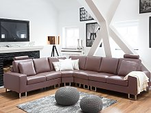 Corner Sofa Brown Leather Upholstery 6 Seater