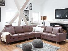 Corner Sofa Brown Leather Upholstery Left Hand