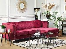 Corner Sofa Burgundy Velvet Upholstered 3 Seater