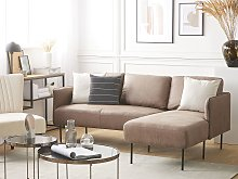 Corner Sofa Couch Brown Fabric Upholstered