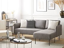 Corner Sofa Couch Grey Fabric Upholstered L-shaped
