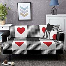Corner Sofa Cover,Vintage Black White Plaid Red