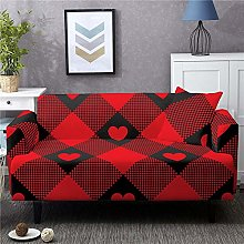 Corner Sofa Cover,Vintage Red Black Grid Love