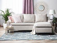 Corner Sofa Dark Beige Fabric Upholstery Dark Wood