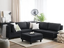 Corner Sofa Dark Grey 5 Seater with Ottoman