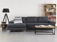 Corner Sofa Dark Grey Fabric L-Shaped Minimalistic