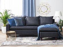 Corner Sofa Dark Grey Fabric Upholstery Dark Wood