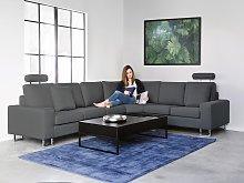 Corner Sofa Dark Grey Fabric Upholstery Left Hand
