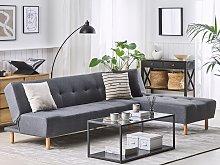 Corner Sofa Dark Grey Fabric Upholstery Light Wood