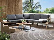 Corner Sofa Garden Set Grey and Brown Acacia Wood