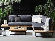 Corner Sofa Garden Set Grey and Light Wood 5