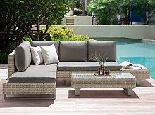 Corner Sofa Garden Set Grey Cushions Beige Faux