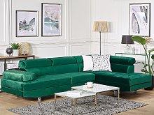 Corner Sofa Green Velvet L-shaped 5 Seater