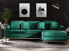 Corner Sofa Green Velvet Upholstered L-shaped Left