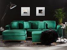 Corner Sofa Green Velvet Upholstered with Ottoman