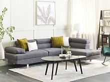 Corner Sofa Grey Fabric L-shaped Adjustable