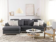 Corner Sofa Grey Fabric Upholstered L-shaped Right