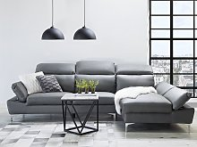 Corner Sofa Grey Leather Upholstery Left Hand