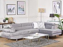 Corner Sofa Grey Velvet L-shaped 5 Seater