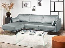 Corner Sofa Grey Velvet Right Hand L-Shaped 3