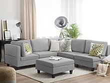 Corner Sofa Light Grey 5 Seater with Ottoman