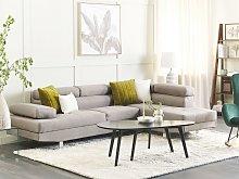Corner Sofa Light Grey Fabric L-shaped Adjustable