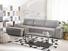 Corner Sofa Light Grey Fabric L-Shaped with