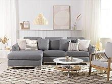 Corner Sofa Light Grey Fabric Upholstered L-shaped