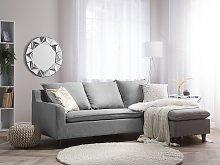 Corner Sofa Light Grey Fabric Upholstery Dark Wood