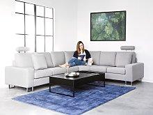 Corner Sofa Light Grey Fabric Upholstery Left Hand
