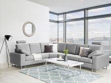 Corner Sofa Light Grey Fabric Upholstery Right