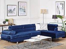 Corner Sofa Navy Blue Velvet L-shaped 5 Seater
