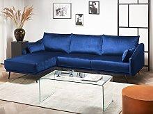 Corner Sofa Navy Blue Velvet Right Hand L-Shaped 3