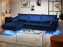 Corner Sofa Navy Blue Velvet with LED Lights Right