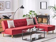 Corner Sofa Red Fabric Upholstery Light Wood Legs