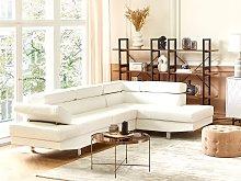 Corner Sofa White Fuax Leather L-shaped Adjustable
