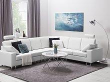 Corner Sofa White Leather Upholstery Left Hand