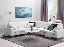 Corner Sofa White Leather Upholstery Right Hand