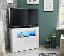 Corner TV Cabinet with Cabinet,White