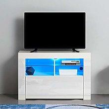 Corner TV Stand, Modern RGB LED Entertainment Unit