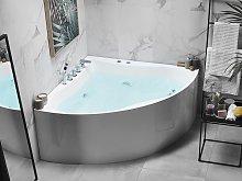 Corner Whirlpool Bath White with Silver Sanitary